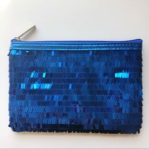 Royal Blue Sequin Clutch or Makeup Bag